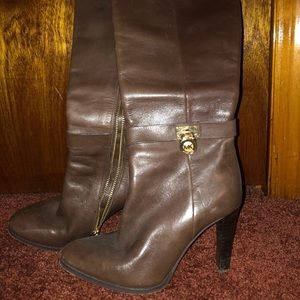 Michael Kors Brown Leather Heeled Boots